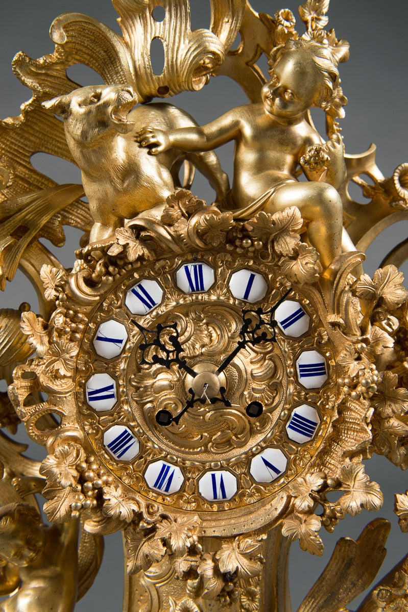 19th Century A French Gilt Bronze Figural Clock. For Sale