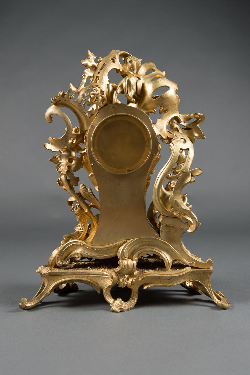 A French Gilt Bronze Figural Clock. For Sale 2