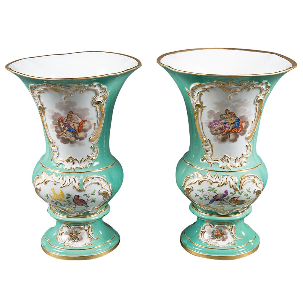 A Fine Pair of 19th Century German Meissen Porcelain Vases For ...