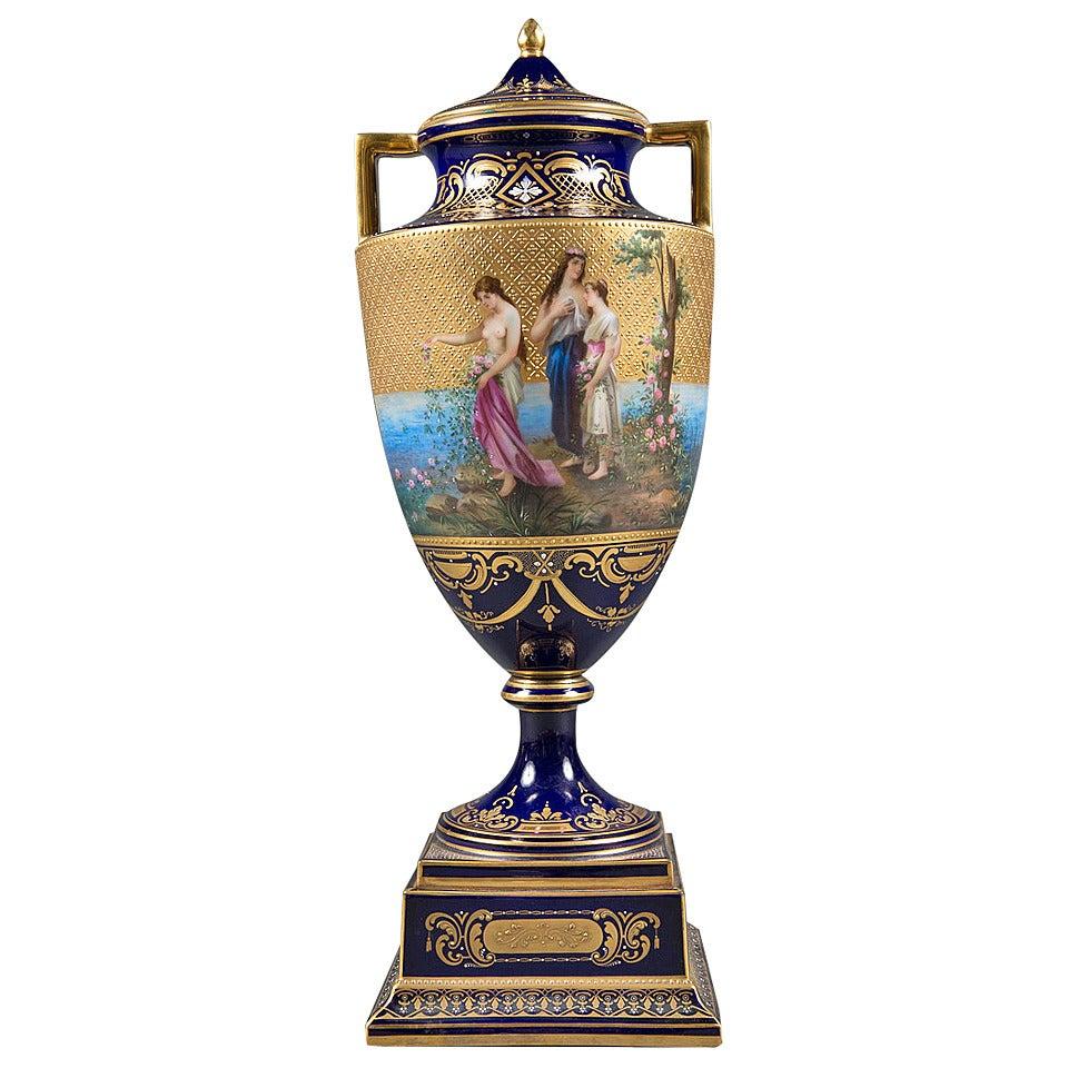 A Very Fine 19th Century Austrian Royal Vienna Lidded Vase
