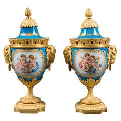 A Pair of 19th Century French Gilt Bronze Mounted Sevres Style Painted Vases