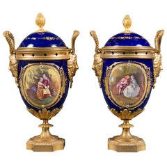 Pair of 19th Century French Gilt Bronze & Cobalt Blue Sevres Style Jeweled Vases