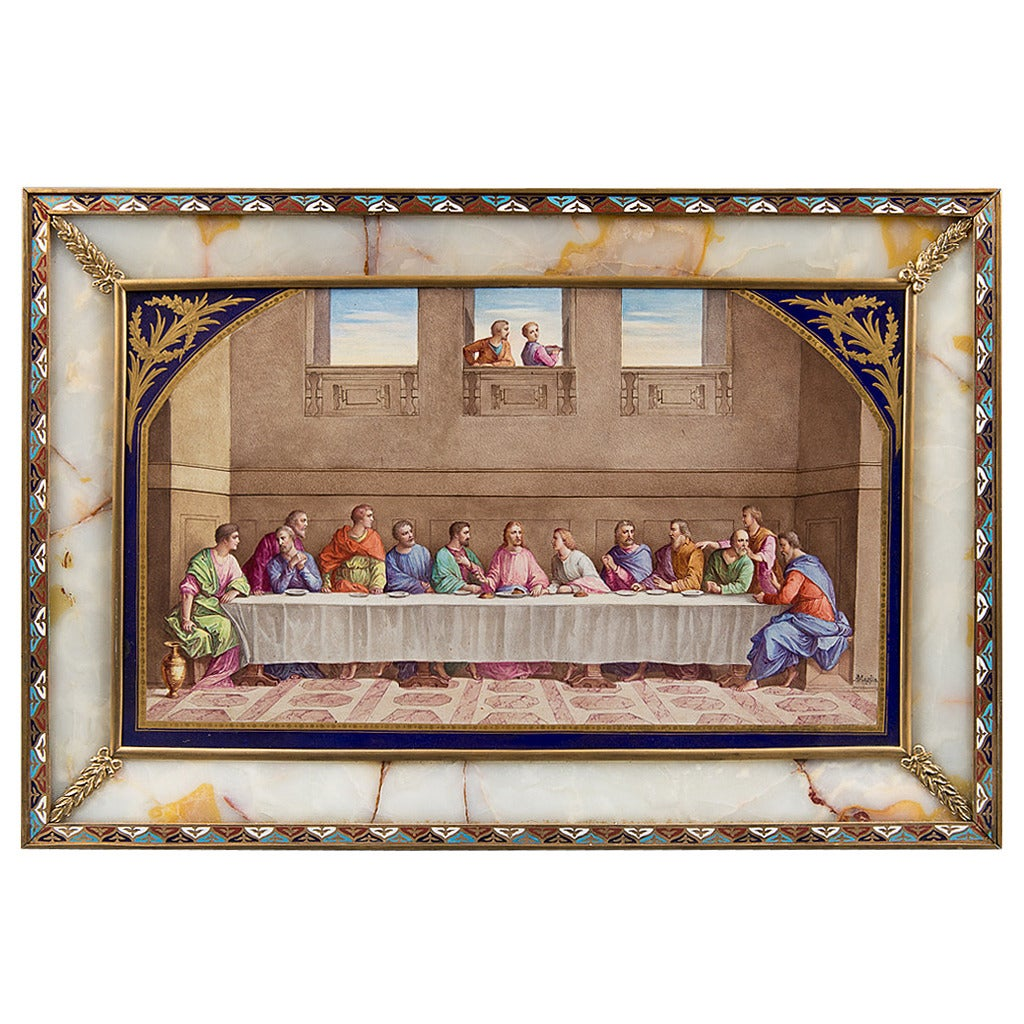 """Antique Sevres Style plaque - """"The last Supper"""""""