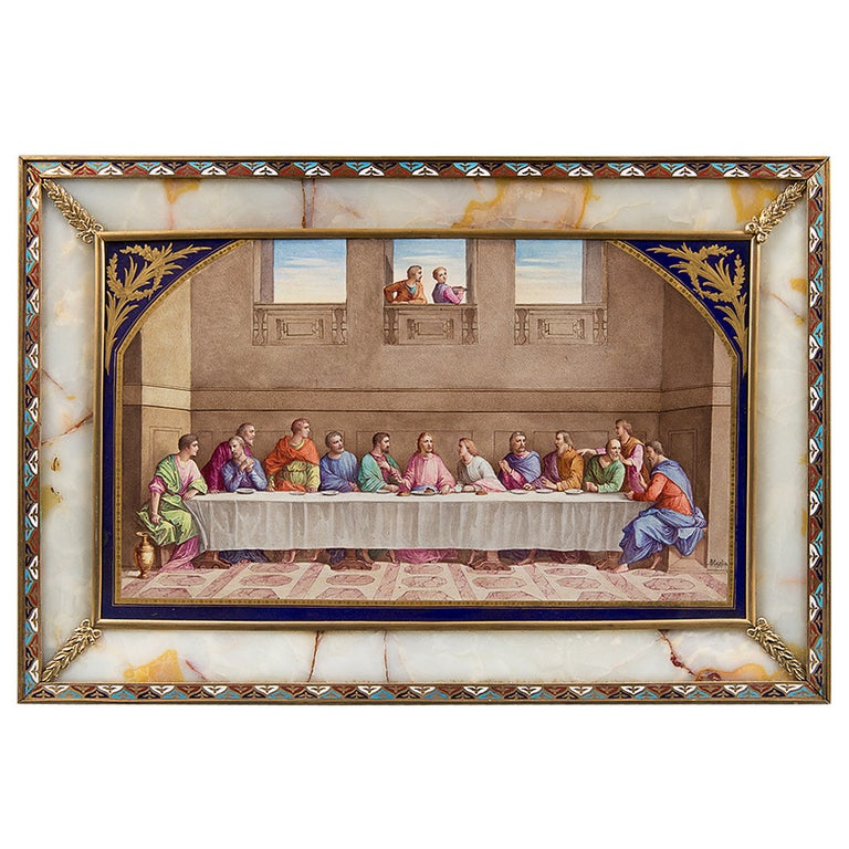 """Antique Sevres Style plaque - """"The last Supper"""" For Sale"""