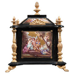 Austrian Viennese Enamel Bronze Mounted Ebony Jewelry Box