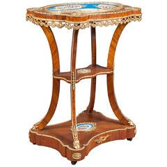 A 19th C. French Sevres Style Hand Painted Bronze Mounted Dessert Table