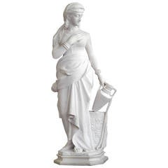 """An Antique Italian Carrera Marble Sculpture by the well"""" by F.Vichi"""
