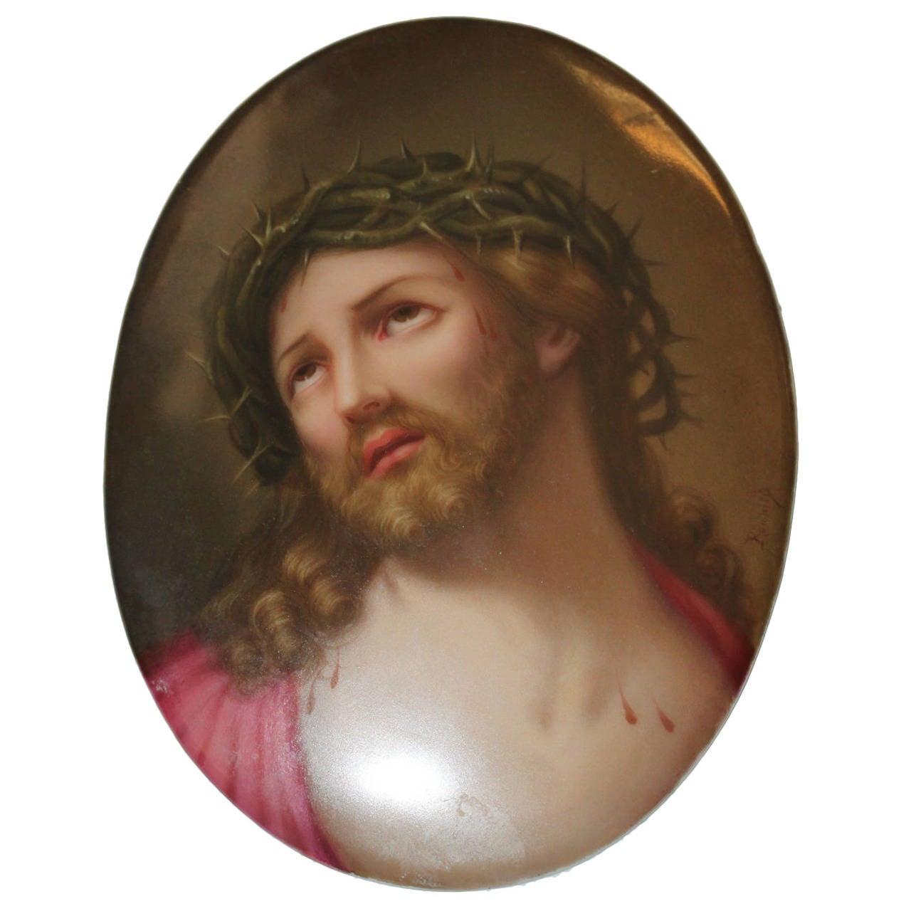 A 19th C. Berlin Hand-Painted K.P.M. Plaque Depicting Jesus Christ without Fram For Sale