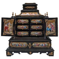 A Large Austrian Viennese Enamel Bronze Mounted Ebony Jewelry Box
