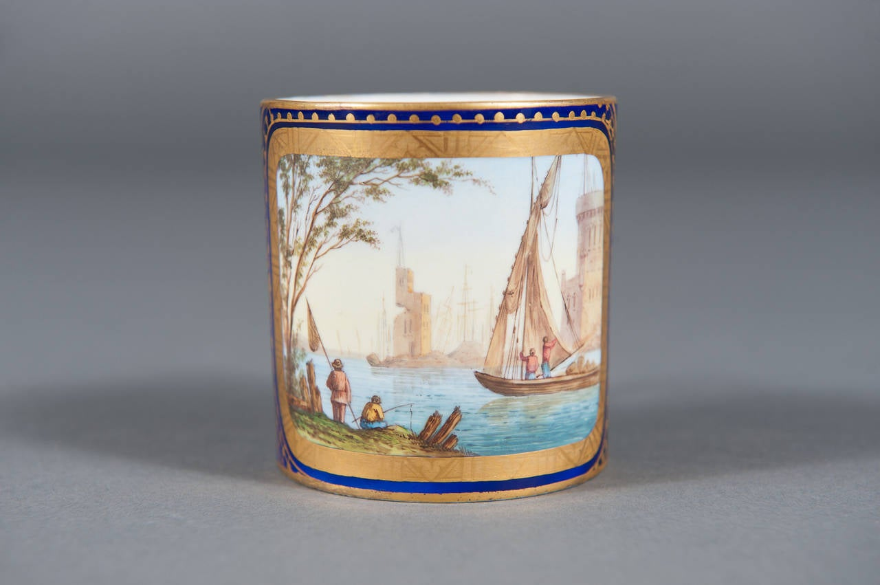 18th Century and Earlier A Fine 19th Century Hand-painted Sevres Porcelain Cabinet Plate & Saucer For Sale