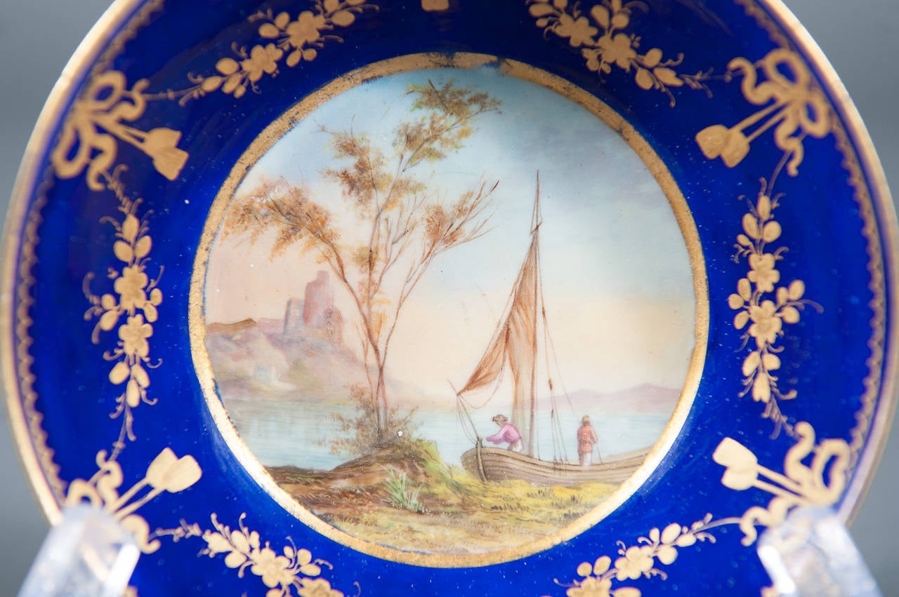 French A Fine 19th Century Hand-painted Sevres Porcelain Cabinet Plate & Saucer For Sale