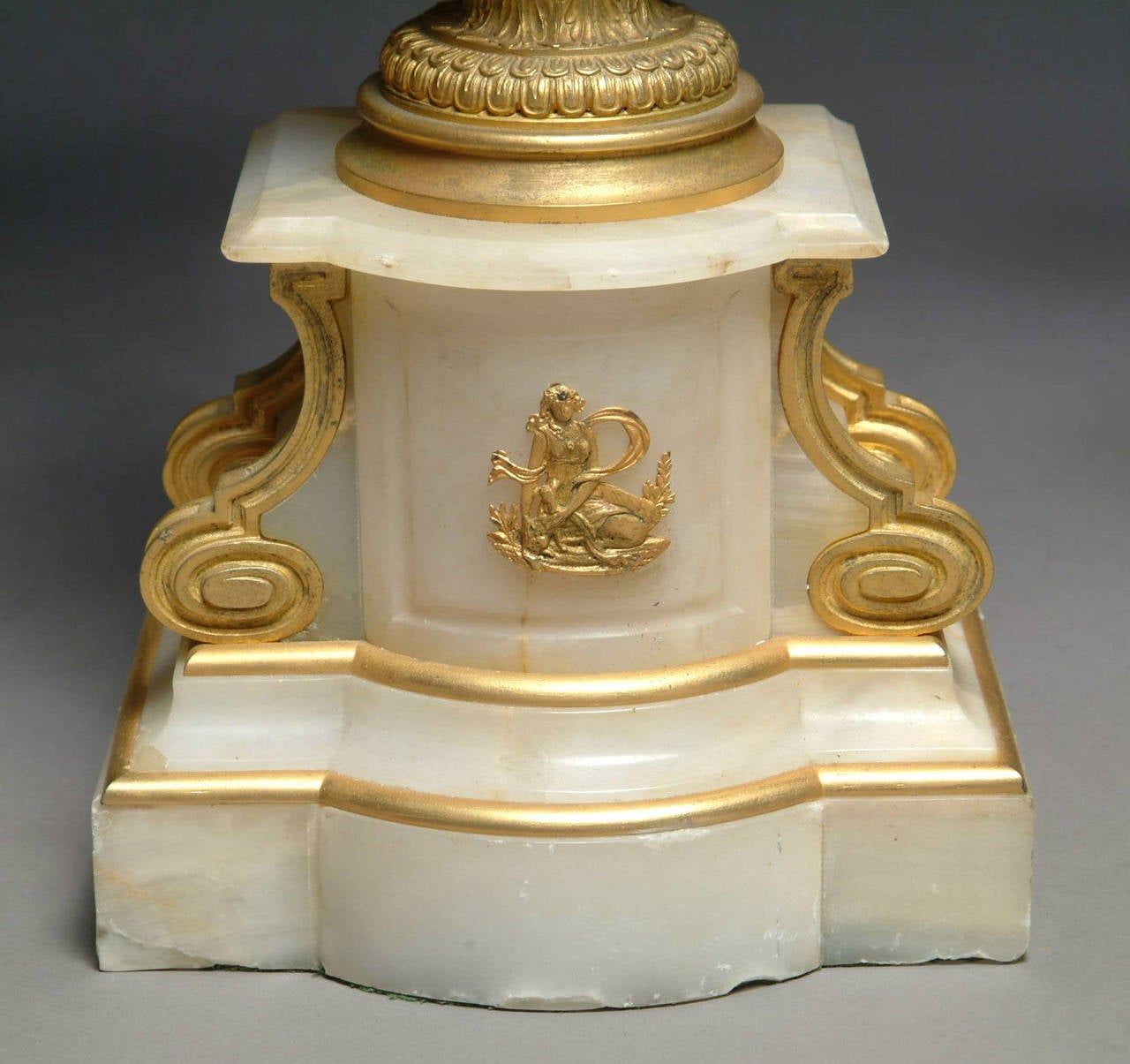 Fine Pair of Late 19th Century French Ormolu and White Marble Candelabrum For Sale 1