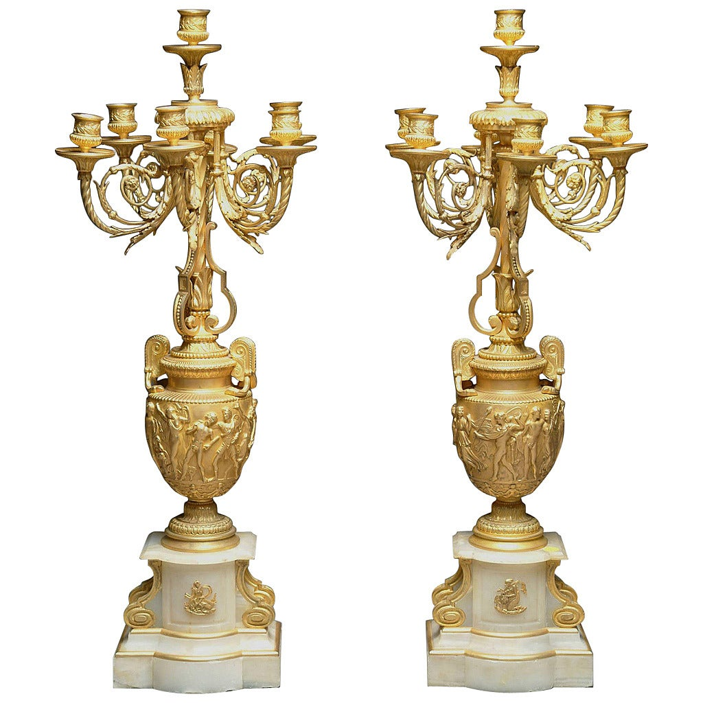 Fine Pair of Late 19th Century French Ormolu and White Marble Candelabrum For Sale