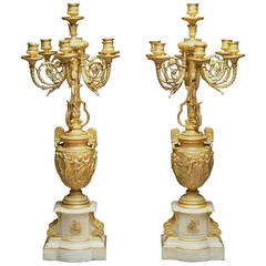 Fine Pair of Late 19th Century French Ormolu and White Marble Candelabrum