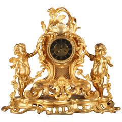 A French Gilt Bronze Antique Figural Cherub Desk Clock, Circa 1890