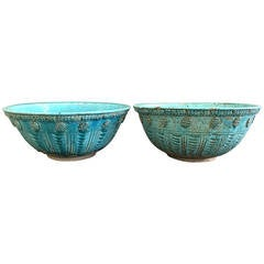 A Pair of Persian Ceramic Turquoise Handcrafted Bowls