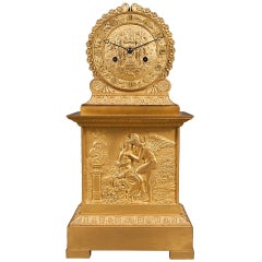 French Empire Ormolu Mantel Clock Depicting Cupid & Psyche