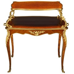 French Gilt Bronze Mounted Parquetry Two-Tier Tea Table
