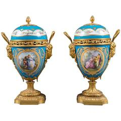 Pair of 19th Century French Gilt Bronze-Mounted Turquoise Ground Painted Vases
