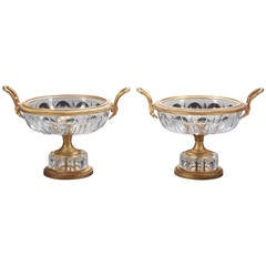 Pair of Early 20th Century French Gilt Bronze and Cut Crystal Compotes