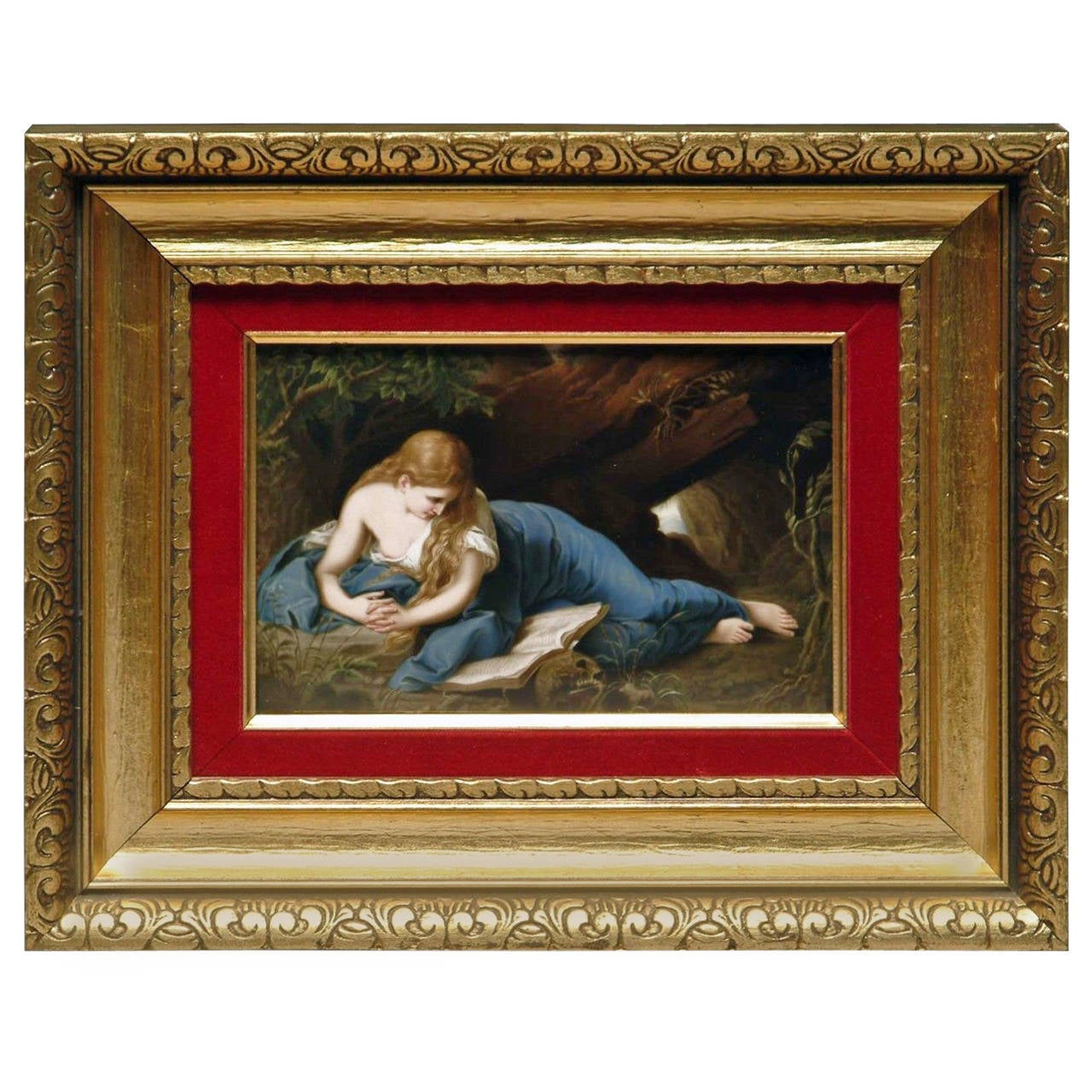 A 19th Century German K.P.M Plaque Depicting Reclining Magdalene