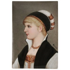 A Berlin K.P.M. Hand-Painted Porcelain Plaque of a Young Lady with a Hat