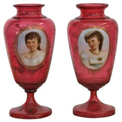 Pair of Bohemian Glass Portrait Vases