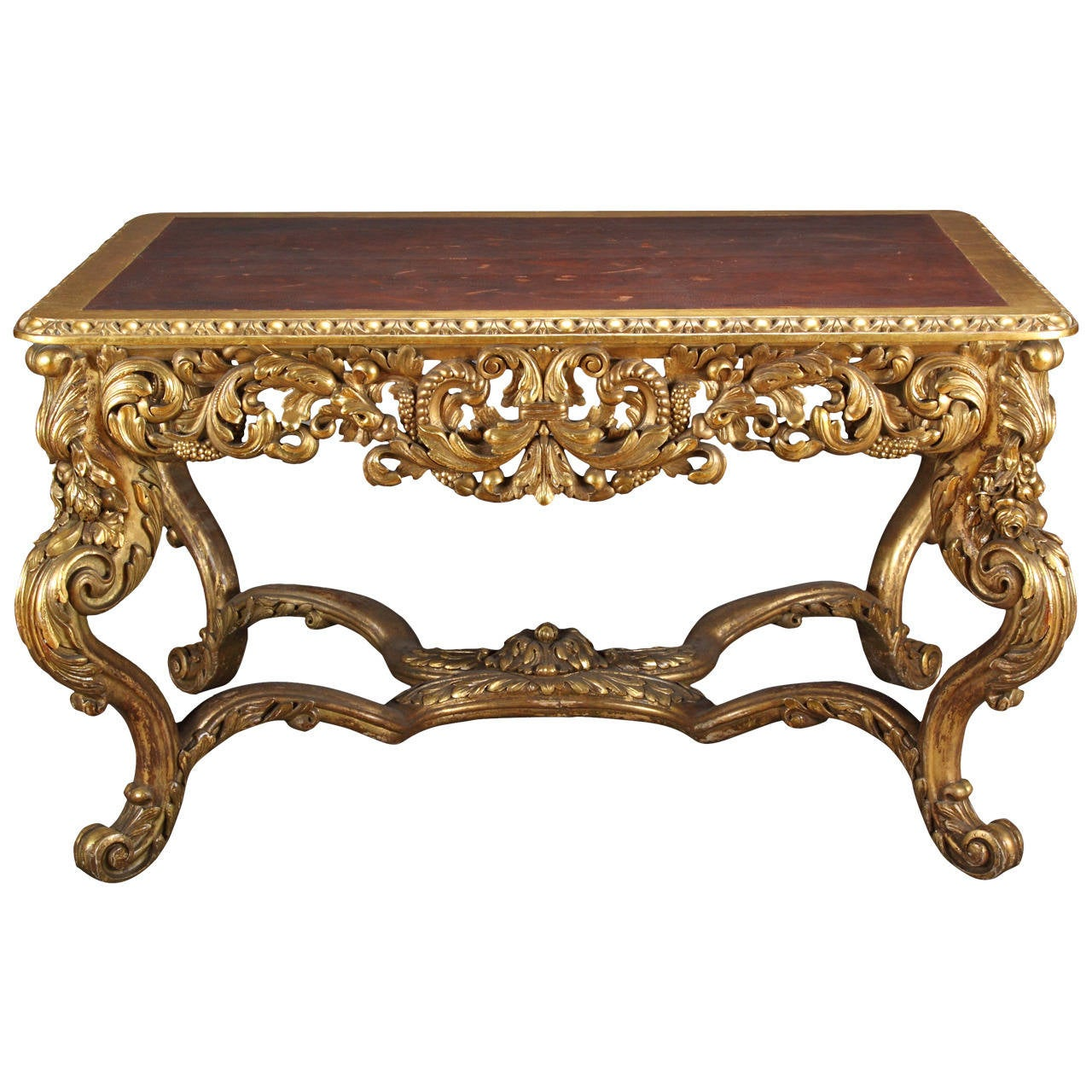 A Large Antique Italian Carved Gilt Wood Rococo Style Rectangular Center  Table 1