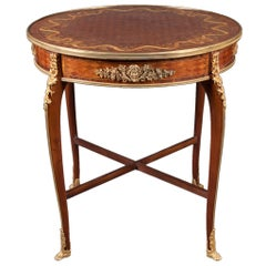 Gilt Bronze-Mounted Kingwood, Parquetry and Satinwood Marquetry Center Table