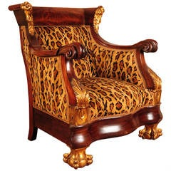 American Carved Mahogany Chair with Gilt Parcels and Leopard Upholstery, 1830