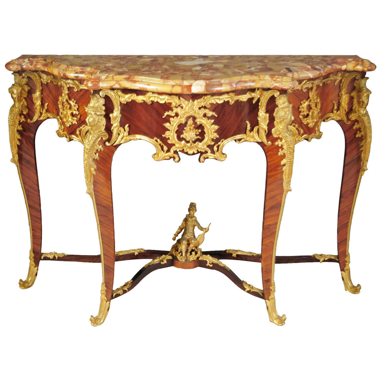 French louis xv style ormolu mounted king wood console table with marble top for sale at 1stdibs - Table louis xv ...