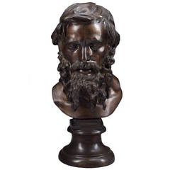 Italian Bronze Bust of Il Filosofo after Vincenzo Gemito
