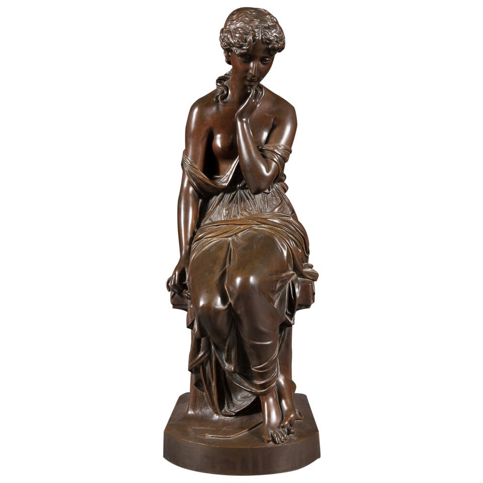 19th Century French Patinated Bronze Figure of a Women with a Lillie For Sale