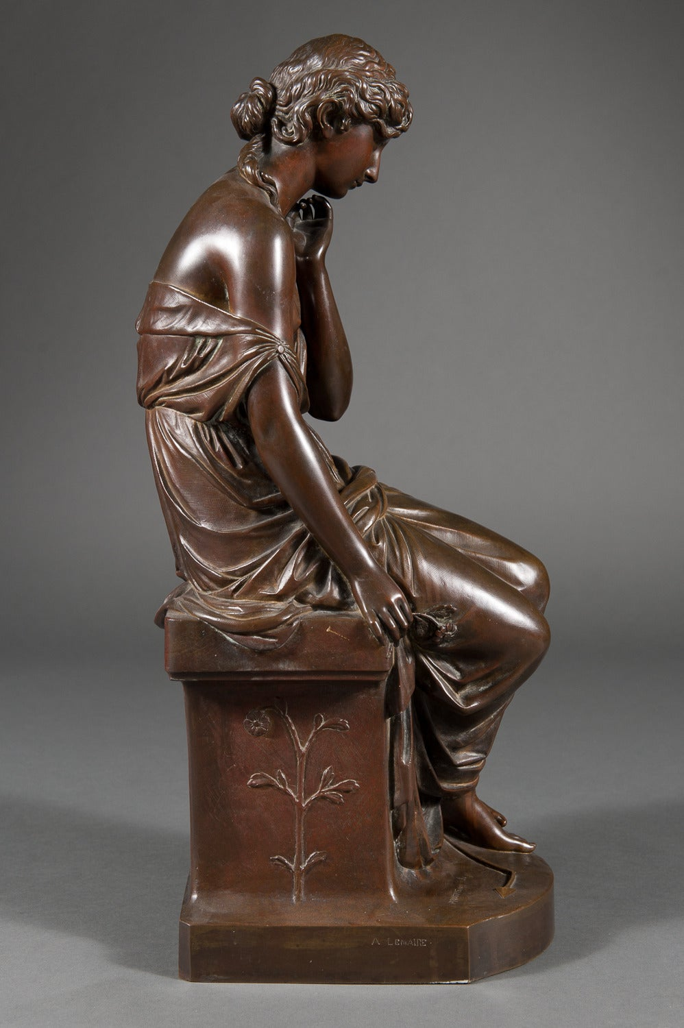 19th Century French Patinated Bronze Figure of a Women with a Lillie In Excellent Condition For Sale In Los Angeles, CA