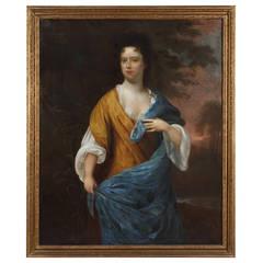 A Fine Dutch Full Length Oil on Canves Portrait of Agnes Johanna Petronella