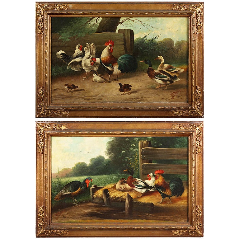 A Pair of 19 Century French Oil on Canvas Paintings Depicting Farm Life