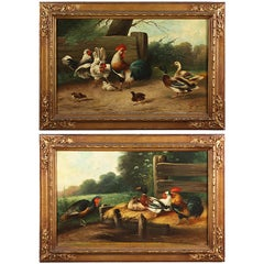 A Pair of 19 Century French Oil on Canvas Paintings Depicting chickens and ducks