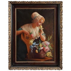Italian Portrait of a smiling Lady with a Basket of flowers