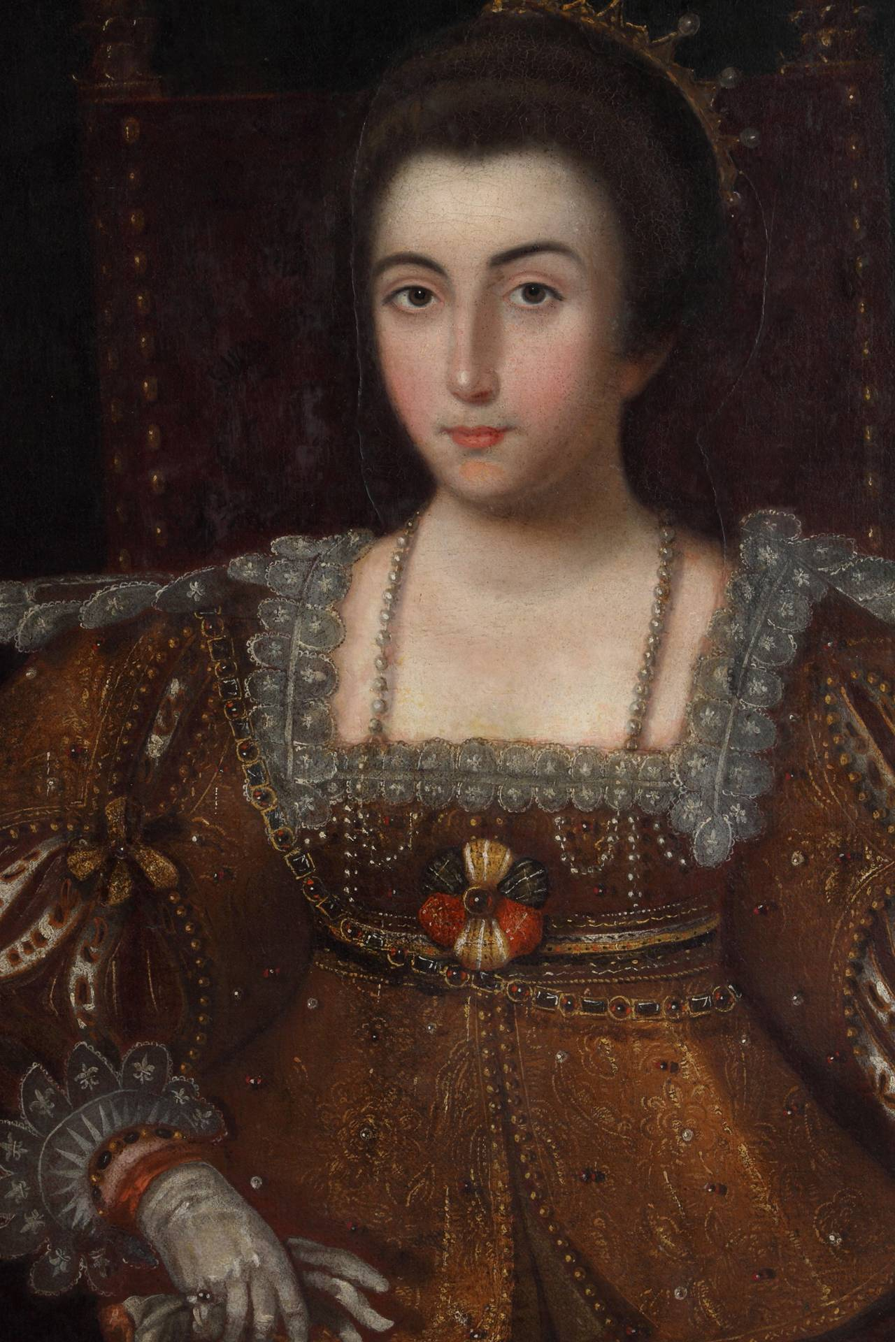 17th Century Spanish Oil On Canvas Depicting A Queen At