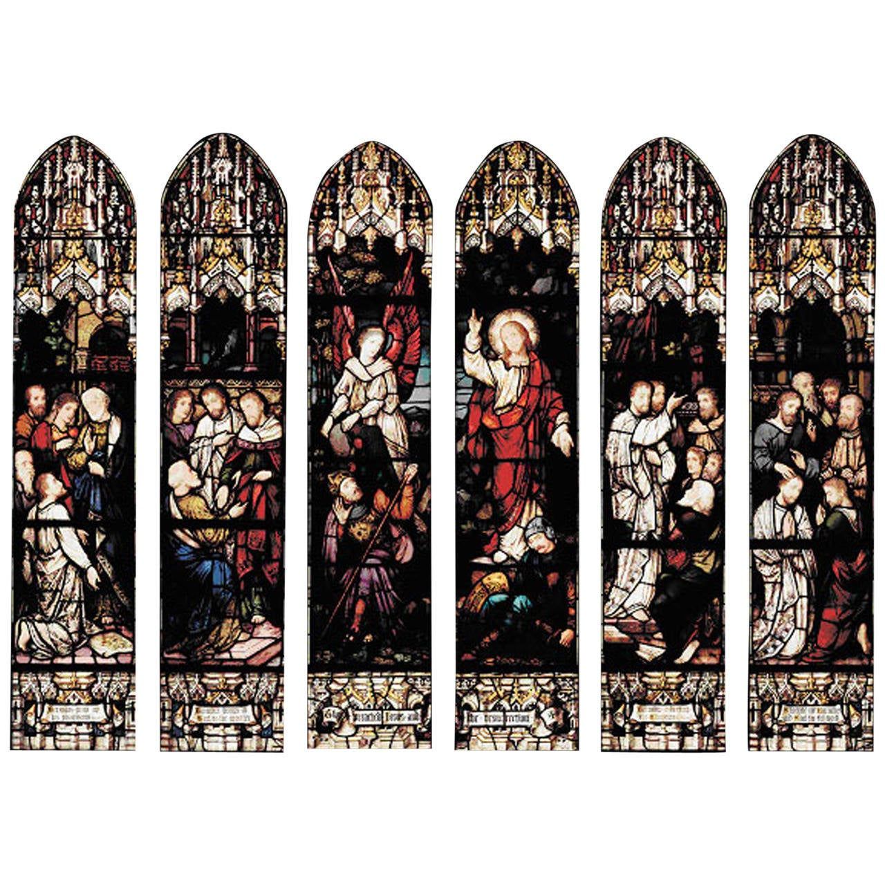 Six-Panel 19th Century Stained Glass Windows by Mayer of Munich