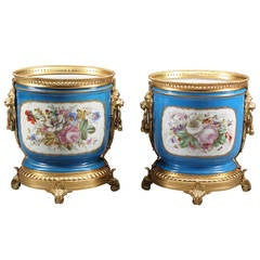 Pair of French Sevres Style Hand-Painted Porcelain Gilt Bronze Mounted Planters