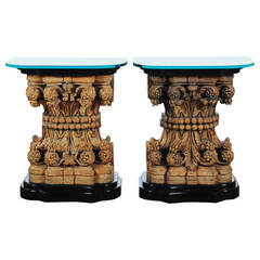 Pair of Italian Renaissance Carved Corinthian Capitals Made into Consoles