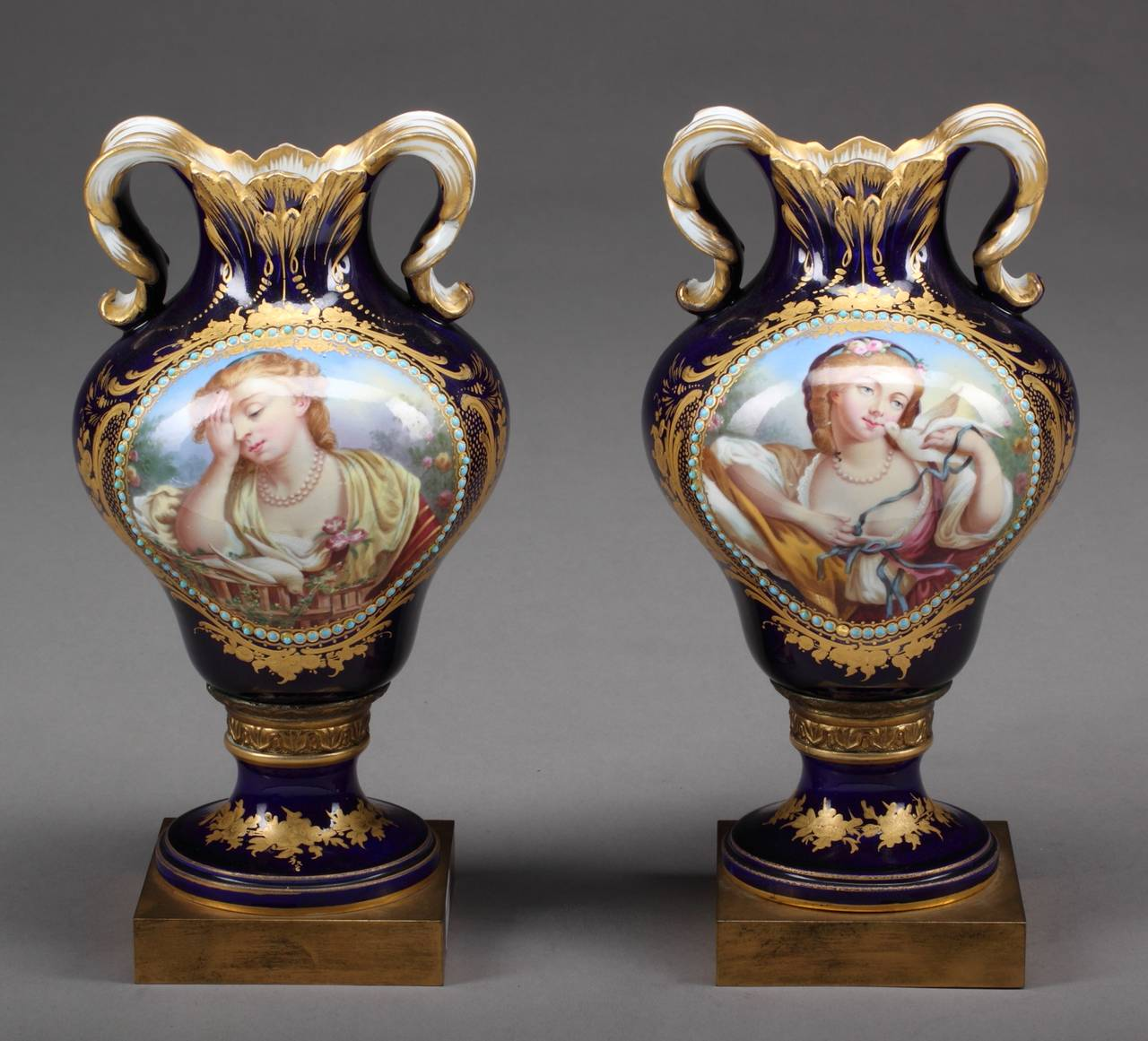 Fine Pair Of French Hand Painted S 232 Vres And Jeweled Portrait Vases For Sale At 1stdibs