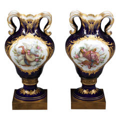 Fine Pair of French Hand-Painted Sèvres and Jeweled Portrait Vases