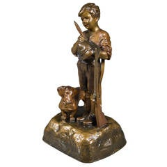 Antique Austrian Bronze Figure of a Boy with His Dog and a Rifle
