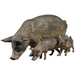 Antique Vienna Bronze Figure of a Pig With Her Children