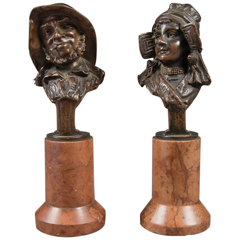 Pair of Mint Antique Vienna Bronze Busts on Marble Bases