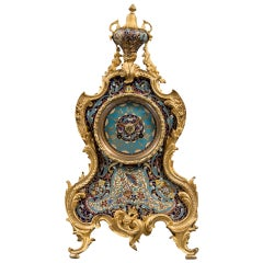French Ormolu Bronze and Champlevé Enamel 8-Day Regulator Clock