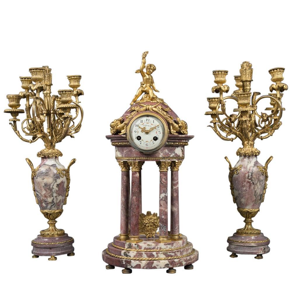 Fine Antique French Tiffany & Co. Marble and Ormolu Bronze Clock Garniture