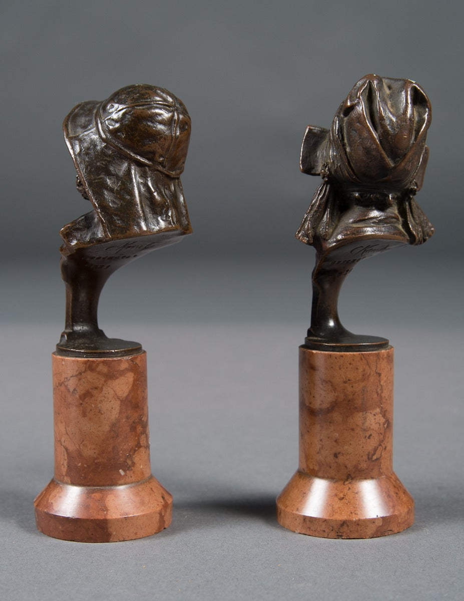 Pair of Mint Antique Vienna Bronze Busts on Marble Bases In Excellent Condition For Sale In Beverly Hills, CA